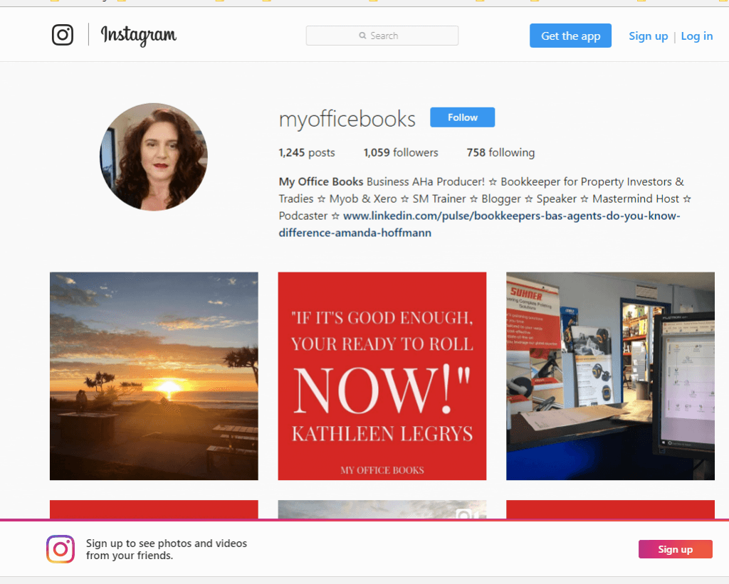 Bookkeeper grows followers on Instagram